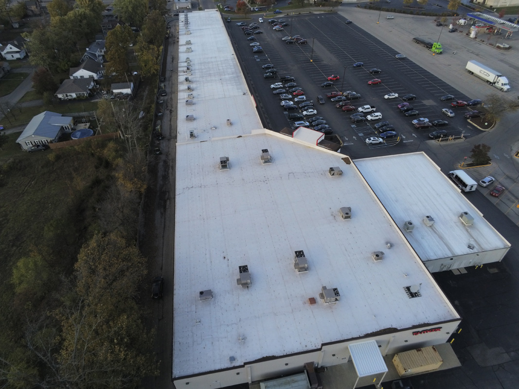 arial shot of a large commercial buildings roof
